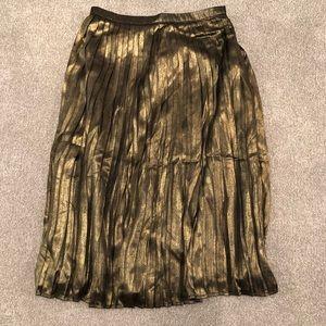 Abercrombie Pleated Metallic Midi Skirt